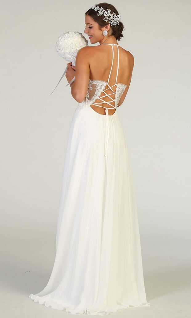 Mayqueen RQ7781-long ivory wedding dress w/v neck, high slit & low back. Long white formal dress is perfect wedding bridal dress, simple prom dress, court/civil wedding, second wedding, destination wedding dress, cheap wedding dress.Plus sizes avail-b.jpg