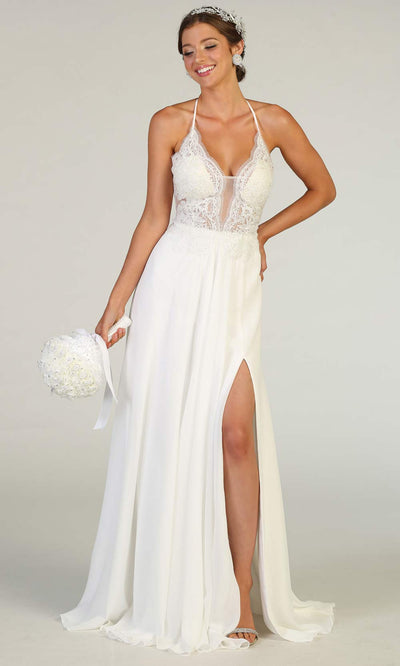 Mayqueen RQ7781-long white wedding dress w/ v neck, high slit & low back. Long white formal dress is perfect for wedding bridal dress, white prom dress, simple wedding, second wedding, destination wedding dress, cheap wedding dress. Plus sizes avail.jpg