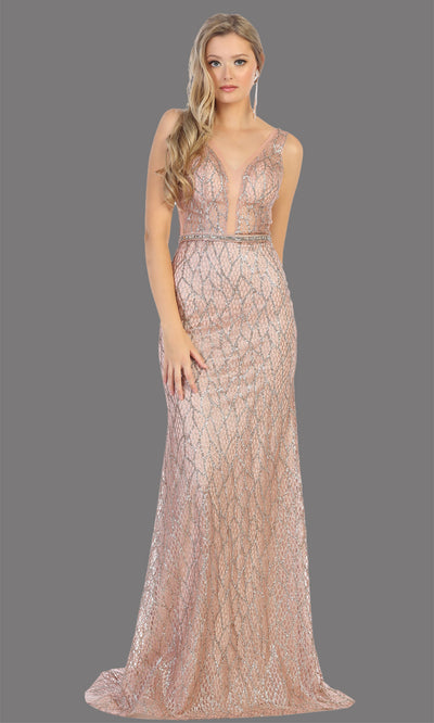 Mayqueen RQ7783 long rose gold v neck fitted sequin dress. Full length rose gold gown is perfect for  enagagement/e-shoot dress, formal wedding guest, indowestern gown, evening party dress, prom, bridesmaid. Plus sizes avail.jpg
