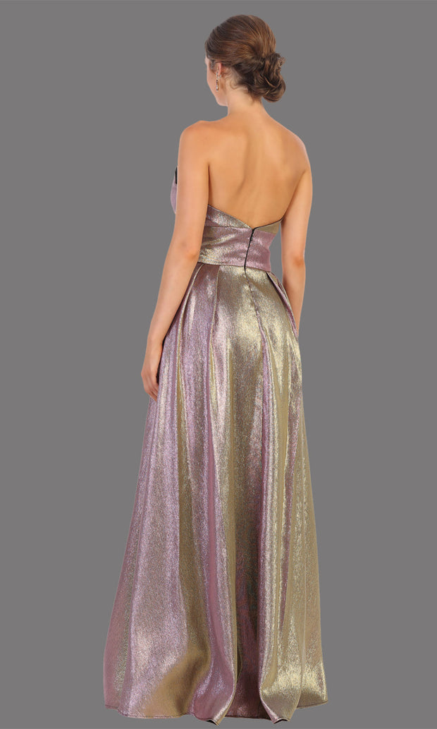 Mayqueen RQ7784 long mauve strapless flowy metallic glitter dress. Perfect dusty rose dress for prom, engagement dress, e-shoot dress, formal wedding guest dress, debut, quinceanera, sweet 16, gala. Plus sizes avail in this light blue semi ballgown-b.jpg