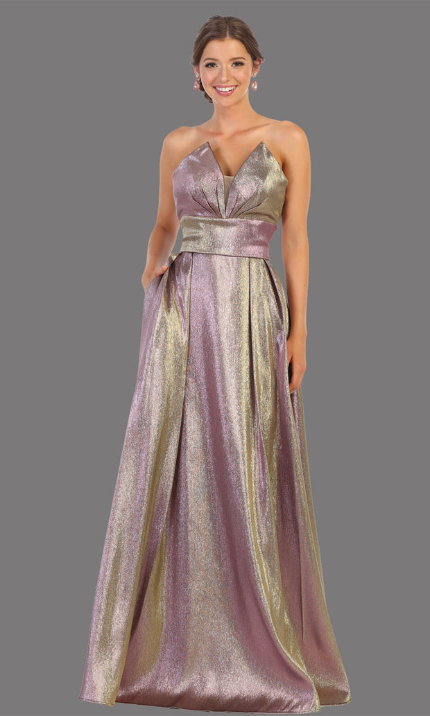 Mayqueen RQ7784 long mauve strapless flowy metallic glitter dress. Perfect dusty rose dress for prom, engagement dress, e-shoot dress, formal wedding guest dress, debut, quinceanera, sweet 16, gala. Plus sizes avail in this light blue semi ballgown.jpg