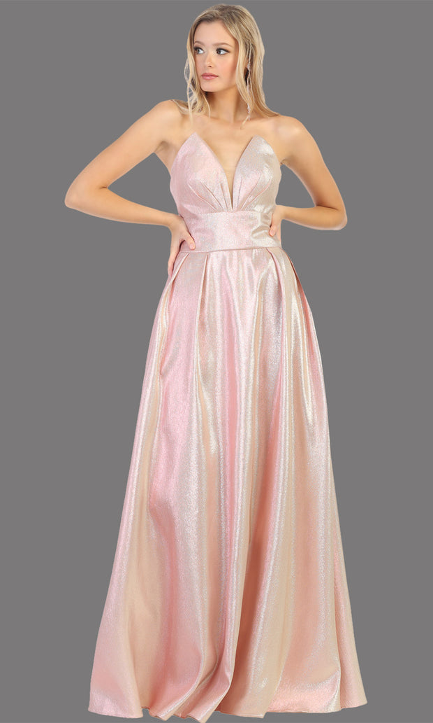 Mayqueen RQ7784 long rose gold strapless flowy metallic glitter dress.Perfect light pink dress for prom, engagement dress, e-shoot dress, formal wedding guest dress, debut, quinceanera, sweet 16, gala. Plus sizes avail in this light blue semi ballgown.jpg