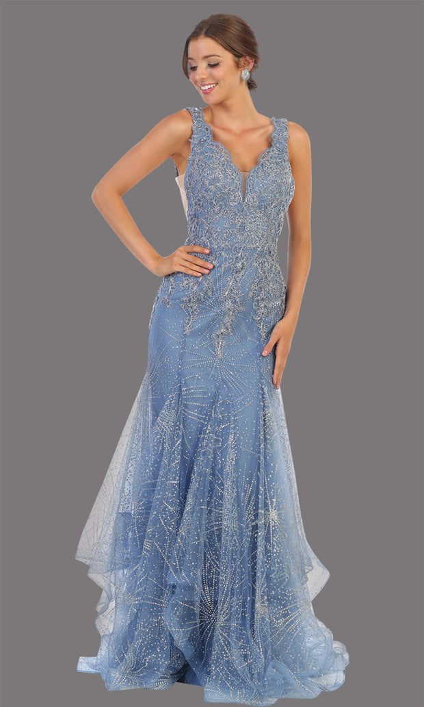 Mayqueen RQ7786 long dusty blue v neck evening fitted sequin mermaid dress w/straps. Full length light blue gown is perfect for  enagagement/e-shoot dress, formal wedding guest, indowestern gown, evening party dress, prom, bridesmaid. Plus sizes avail