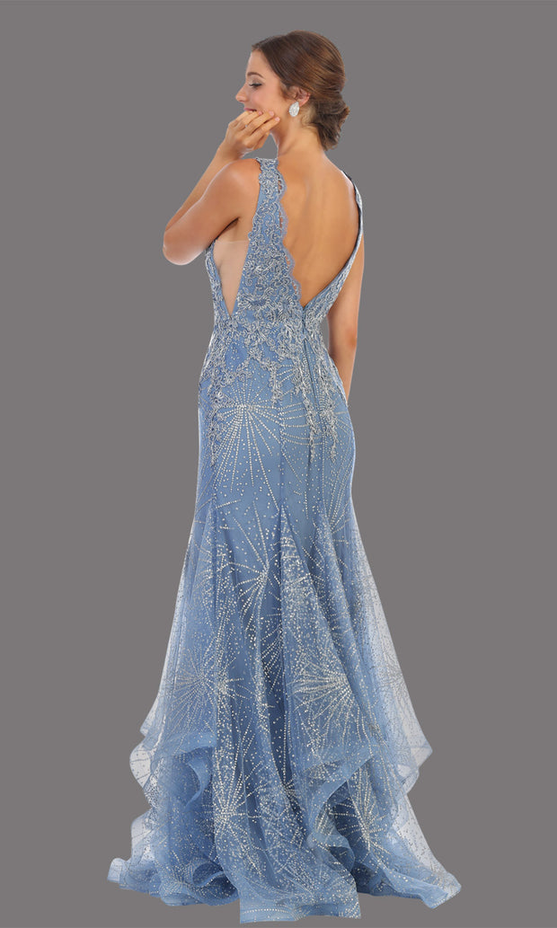 Mayqueen RQ7786 long dusty blue v neck evening fitted sequin mermaid dress w/straps. Full length light blue gown is perfect for  enagagement/e-shoot dress, formal wedding guest, indowestern gown, evening party dress, prom, bridesmaid. Plus sizes avail-back