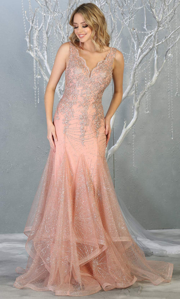Mayqueen RQ7786 long rose gold v neck evening fitted sequin mermaid dress w/straps. Full length light pink gown is perfect for  enagagement/e-shoot dress, formal wedding guest, indowestern gown, evening party dress, prom, bridesmaid. Plus sizes avail.jpg