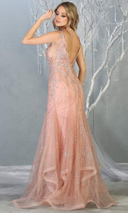 Mayqueen RQ7786 long rose gold v neck evening fitted sequin mermaid dress w/straps. Full length light pink gown is perfect for  enagagement/e-shoot dress, formal wedding guest, indowestern gown, evening party dress, prom, bridesmaid.Plus sizes avail-b.jpg