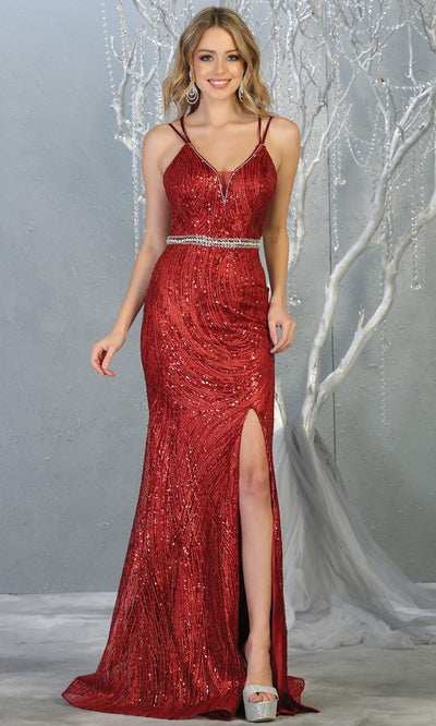 Mayqueen RQ7788 long burgundy red v neck evening fitted sequin dress w/straps & slit. Full length dark red gown is perfect for  enagagement/e-shoot dress, formal wedding guest, indowestern gown, evening party dress, prom, bridesmaid. Plus sizes avail.jpg