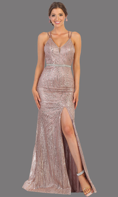 Mayqueen RQ7788 long mauve v neck evening fitted sequin dress w/straps & slit. Full length dusty pink gown is perfect for  enagagement/e-shoot dress, formal wedding guest, indowestern gown, evening party dress, prom, bridesmaid. Plus sizes avail.jpg
