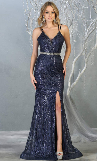 Mayqueen RQ7788 long navy blue v neck evening fitted sequin dress w/straps & slit. Full length dark blue gown is perfect for  enagagement/e-shoot dress, formal wedding guest, indowestern gown, evening party dress, prom, bridesmaid. Plus sizes avail.jpg