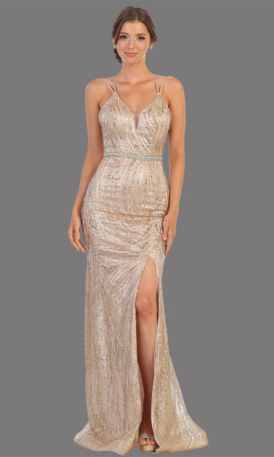Mayqueen RQ7788 long rose gold v neck evening fitted sequin dress w/straps & slit. Full length rose gold gown is perfect for  enagagement/e-shoot dress, formal wedding guest, indowestern gown, evening party dress, prom, bridesmaid. Plus sizes avail.jpg