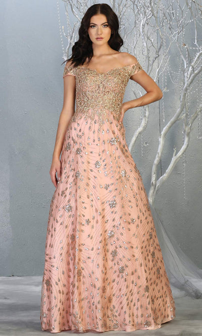 Mayqueen RQ7789 long rose gold off shoulder flowy tulle dress w/slit Perfect light pink dress for prom, engagement dress, e-shoot dress, formal wedding guest dress, debut, quinceanera, sweet 16, gala. Plus sizes avail in this rose gold semi ballgown.jpg