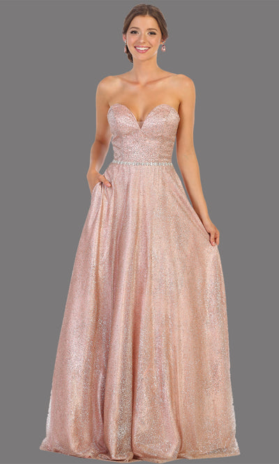 Mayqueen RQ7791 long rose gold strapless flowy sequin dress. Full length rose gold gown is perfect for  enagagement/e-shoot dress, formal wedding guest, indowestern gown, evening party dress, prom, bridesmaid. Plus sizes avail.jpg
