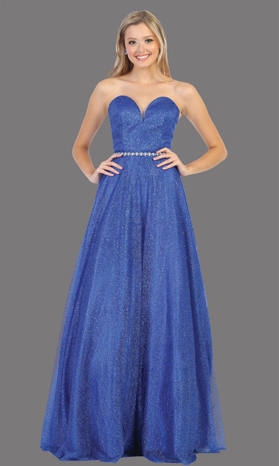 Mayqueen RQ7791 long royal blue off shoulder flowy sequin dress. Full length royal blue gown is perfect for  enagagement/e-shoot dress, formal wedding guest, indowestern gown, evening party dress, prom, bridesmaid. Plus sizes avail.jpg