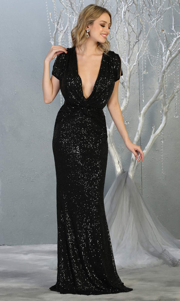 Mayqueen RQ7794-long black sequin dress with low v neck & cap sleeves.jpg