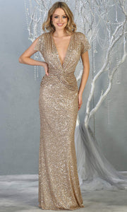 Mayqueen RQ7794-long gold sequin dress with low v neck & cap sleeves.jpg
