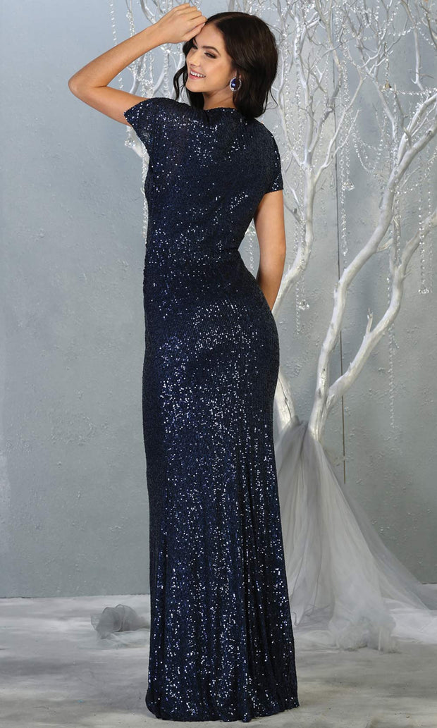 Mayqueen RQ7794-long navy blue sequin dress with low v neck & cap sleeves-b.jpg