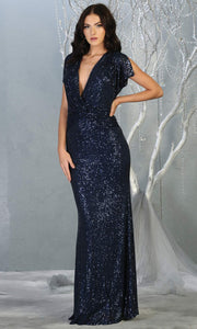 Mayqueen RQ7794-long navy blue sequin dress with low v neck & cap sleeves.jpg