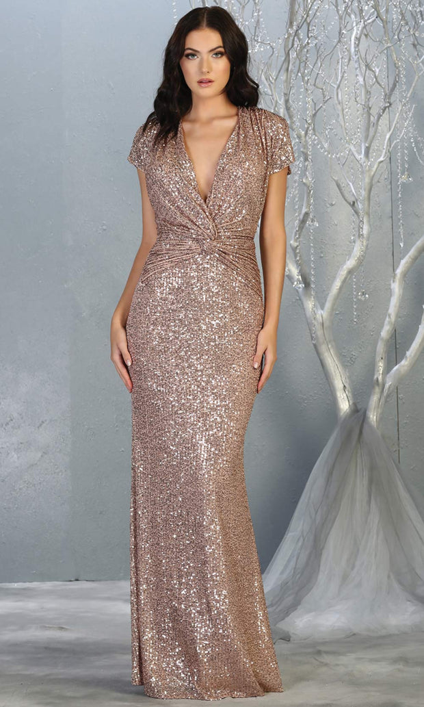 Mayqueen RQ7794-long rose gold sequin dress with low v neck & cap sleeves.jpg