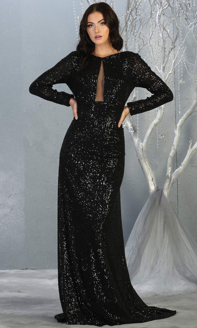 Mayqueen RQ7795 long black sequin dress with long sleeves and low open back.jpg