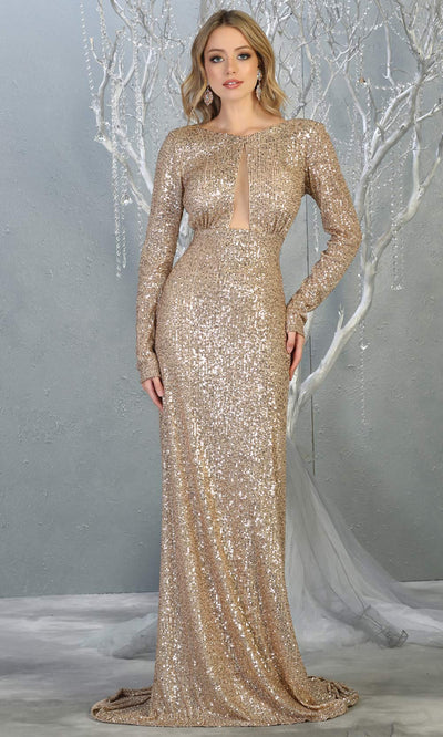 Mayqueen RQ7795 long champagne gold sequin dress with long sleeves and low open back.jpg