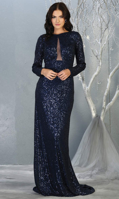 Mayqueen RQ7795 long navy blue sequin dress with long sleeves and low open back.jpg