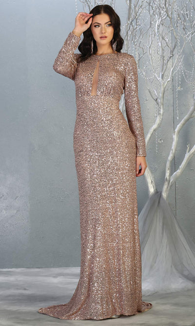 Mayqueen RQ7795 long rose gold sequin dress with long sleeves and low open back.jpg