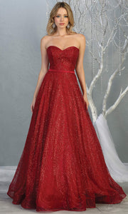 Mayqueen RQ7796 long burgundy red strapless flowy metallic glitter beaded dress. Perfect for prom, engagement dress, e-shoot dress, formal wedding guest dress, debut, quinceanera, sweet 16, gala. Plus sizes avail in this dark red semi ballgown.jpg