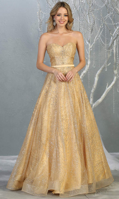 Mayqueen RQ7796 long gold strapless flowy metallic glitter beaded dress. Perfect gold dress for prom, engagement dress, e-shoot dress, formal wedding guest dress, debut, quinceanera, sweet 16, gala. Plus sizes avail in this light gold semi ballgown.jpg