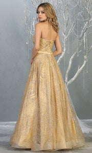 Mayqueen RQ7796 long gold strapless flowy metallic glitter beaded dress. Perfect gold dress for prom, engagement dress, e-shoot dress, formal wedding guest dress, debut, quinceanera, sweet 16, gala. Plus sizes avail in this light gold semi ballgown-b.jpg