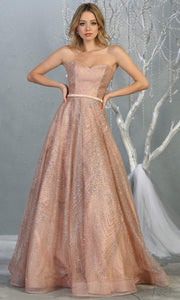 Mayqueen RQ7796 long rose gold strapless flowy metallic glitter beaded dress. Perfect dress for prom, engagement dress, e-shoot dress, formal wedding guest dress, debut, quinceanera, sweet 16, gala. Plus sizes avail in this light pink semi ballgown.jpg