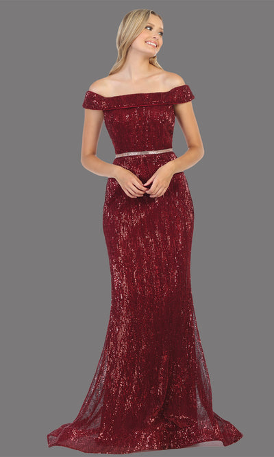 Mayqueen RQ7799 long burgundy red off shoulder evening fitted sequin beaded dress. Full length dark red gown is perfect for  enagagement/e-shoot dress, formal wedding guest, indowestern gown, evening party dress, prom, bridesmaid. Plus sizes avail.jpg