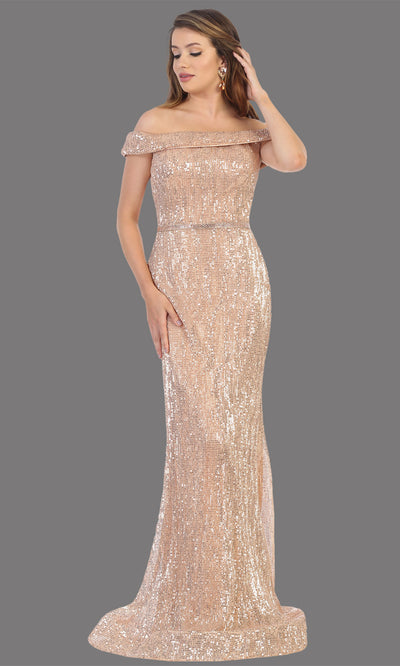 Mayqueen RQ7799 long rose gold off shoulder evening fitted sequin beaded dress. Full length rose gold gown is perfect for  enagagement/e-shoot dress, formal wedding guest, indowestern gown, evening party dress, prom, bridesmaid. Plus sizes avail.jpg