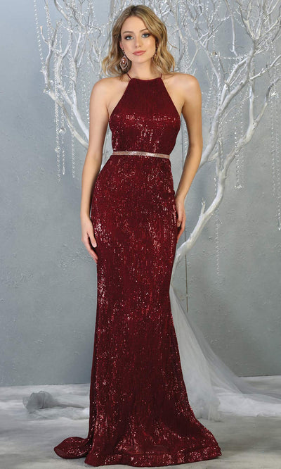 Mayqueen RQ7800 long burgundy red high neck sexy fitted sequin dress w/open back. Full length dark red gown is perfect for  enagagement/e-shoot dress, formal wedding guest, indowestern gown, evening party dress, prom, bridesmaid. Plus sizes avail.jpg