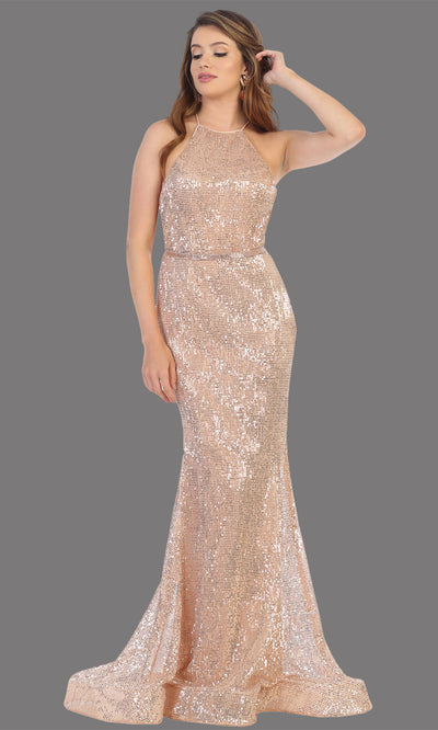 Mayqueen RQ7800 long rose gold high neck sexy fitted sequin dress w/open back. Full length rose gold gown is perfect for  enagagement/e-shoot dress, formal wedding guest, indowestern gown, evening party dress, prom, bridesmaid. Plus sizes avail.jpg