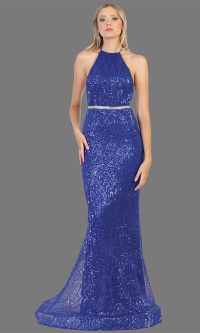 Mayqueen RQ7800 long royal blue high neck sexy fitted sequin dress w/open back. Full length royal blue gown is perfect for  enagagement/e-shoot dress, formal wedding guest, indowestern gown, evening party dress, prom, bridesmaid. Plus sizes avail.jpg
