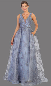 Mayqueen RQ7801 long dusty blue v neck flowy floral lace taffeta dress. Perfect blue dress for prom, engagement dress, e-shoot dress, formal wedding guest dress, debut, quinceanera, sweet 16, gala. Plus sizes avail in this light blue semi ballgown-1.jpg