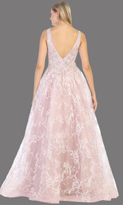 Mayqueen RQ7801 long mauve v neck flowy floral lace taffeta dress. Perfect dusty rose dress for prom, engagement dress, e-shoot dress, formal wedding guest dress, debut, quinceanera, sweet 16, gala. Plus sizes avail in this light pink semi ballgown-b.jpg