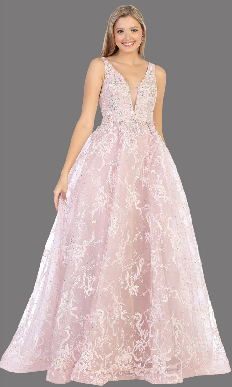Mayqueen RQ7801 long mauve v neck flowy floral lace taffeta dress. Perfect dusty rose dress for prom, engagement dress, e-shoot dress, formal wedding guest dress, debut, quinceanera, sweet 16, gala. Plus sizes avail in this light pink semi ballgown.jpg