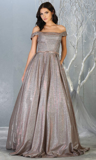 Mayqueen RQ7802 long bronze off shoulder flowy metallic glitter dress. Perfect bronze dress for prom, engagement dress, e-shoot dress, formal wedding guest dress, debut, quinceanera, sweet 16, gala. Plus sizes avail in this bronze semi ballgown.jpg