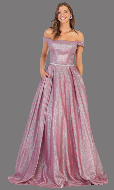 Mayqueen RQ7802 long magenta off shoulder flowy metallic glitter dress. Perfect magenta dress for prom, engagement dress, e-shoot dress, formal wedding guest dress, debut, quinceanera, sweet 16, gala. Plus sizes avail in this pink semi ballgown.jpg