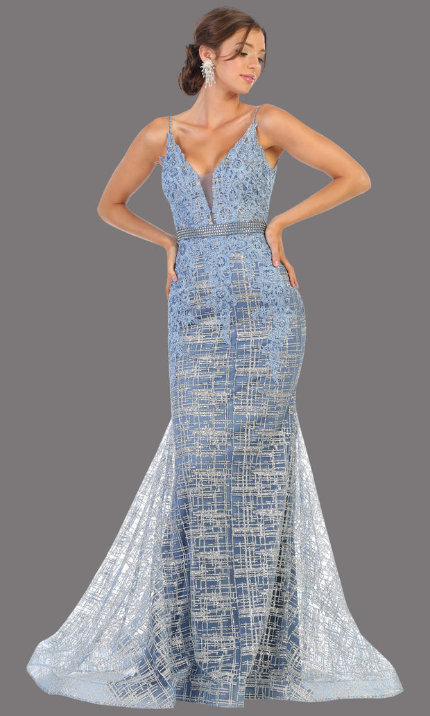 Mayqueen RQ7803 long dusty blue v neck sexy fitted sequin lace dress w/wide straps. Full length dusty blue gown is perfect for  enagagement/e-shoot dress, formal wedding guest, indowestern gown, evening party dress, prom, bridesmaid. Plus sizes avail.jpg