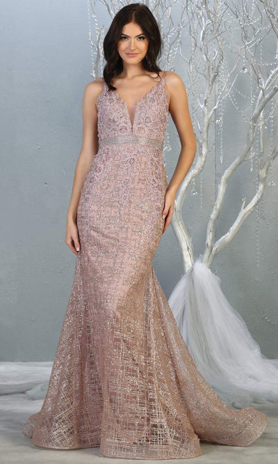 Mayqueen RQ7803 long mauve v neck sexy fitted sequin lace dress w/wide straps. Full length dusty rose gown is perfect for  enagagement/e-shoot dress, formal wedding guest, indowestern gown, evening party dress, prom, bridesmaid. Plus sizes avail.jpg