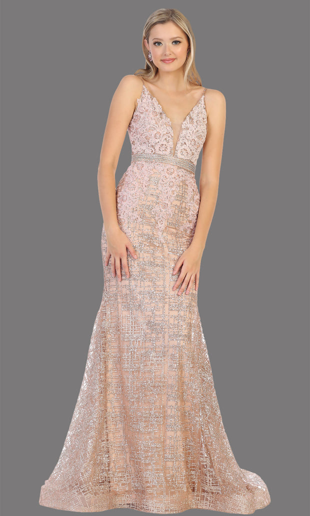 Mayqueen RQ7803 long rose gold v neck sexy fitted sequin lace dress w/wide straps. Full length light gold gown is perfect for  enagagement/e-shoot dress, formal wedding guest, indowestern gown, evening party dress, prom, bridesmaid. Plus sizes avail.jpg