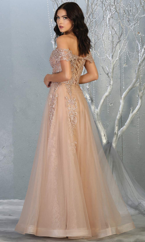 Mayqueen RQ7805 long rose gold off shoulde flowy lace tulle mesh dress. Perfect pink dress for prom, engagement dress, e-shoot dress, formal wedding guest dress, debut, quinceanera, sweet 16, gala. Plus sizes avail in this light pink semi ballgown-b.jpg