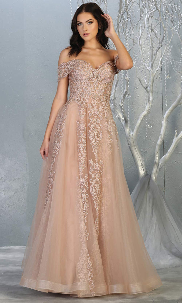 Mayqueen RQ7805 long rose gold off shoulde flowy lace tulle mesh dress. Perfect pink dress for prom, engagement dress, e-shoot dress, formal wedding guest dress, debut, quinceanera, sweet 16, gala. Plus sizes avail in this light pink semi ballgown.jpg