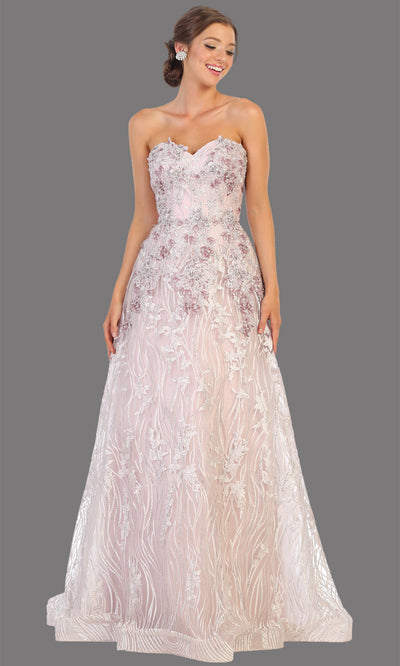 Mayqueen RQ7806 long mauve strapless flowy lace tulle mesh dress. Perfect dusty rose dress for prom, engagement dress, e-shoot dress, formal wedding guest dress, debut, quinceanera, sweet 16, gala. Plus sizes avail in this light pink semi ballgown.jpg