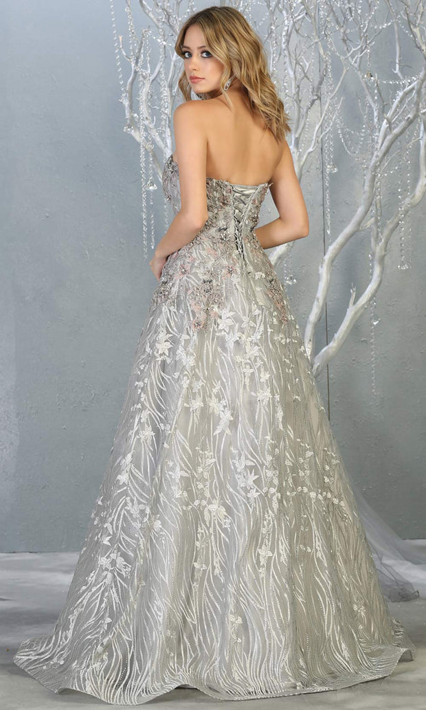 Mayqueen RQ7806 long silver strapless flowy lace tulle mesh dress. Perfect light grey dress for prom, engagement dress, e-shoot dress, formal wedding guest dress, debut, quinceanera, sweet 16, gala. Plus sizes avail in this light grey semi ballgown-b.jpg