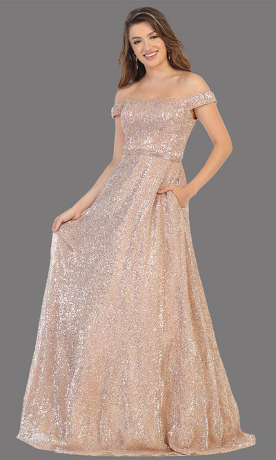 Mayqueen RQ7807 long rose gold off shoulder flowy sequin dress. Perfect rose gold dress for prom, engagement dress, e-shoot dress, formal wedding guest dress, debut, quinceanera, sweet 16, gala. Plus sizes avail in this rose gold semi ballgown.jpg