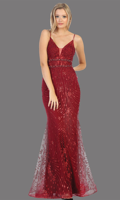 Mayqueen RQ7808 long burgundy red v neck sexy fitted sequin lace dress w/straps. Full length dark red gown is perfect for  enagagement/e-shoot dress, formal wedding guest, indowestern gown, evening party dress, prom, bridesmaid. Plus sizes avail.jpg