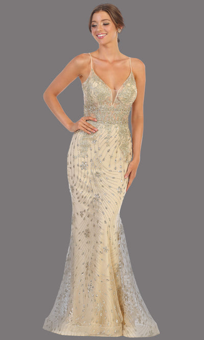 Mayqueen RQ7808 long champagne v neck sexy fitted sequin lace dress w/straps. Full length light gold gown is perfect for  enagagement/e-shoot dress, formal wedding guest, indowestern gown, evening party dress, prom, bridesmaid. Plus sizes avail.jpg